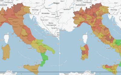 Variazioni Partite IVA nelle regioni e province italiane