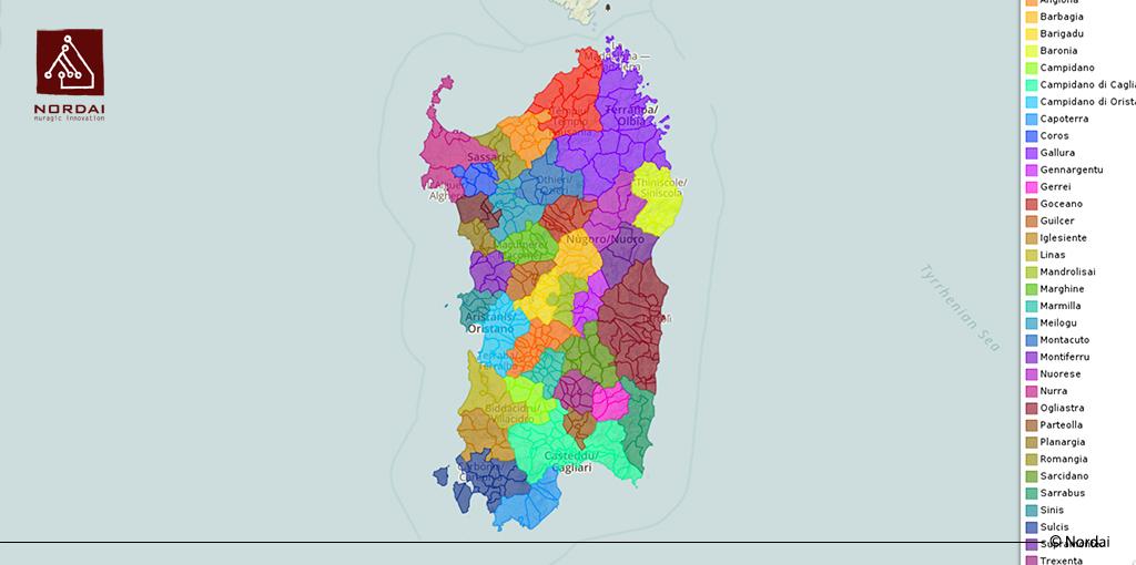 Cartina Sardegna Regioni.Le Regioni Storiche Della Sardegna Geonue Il Sit In Cloud