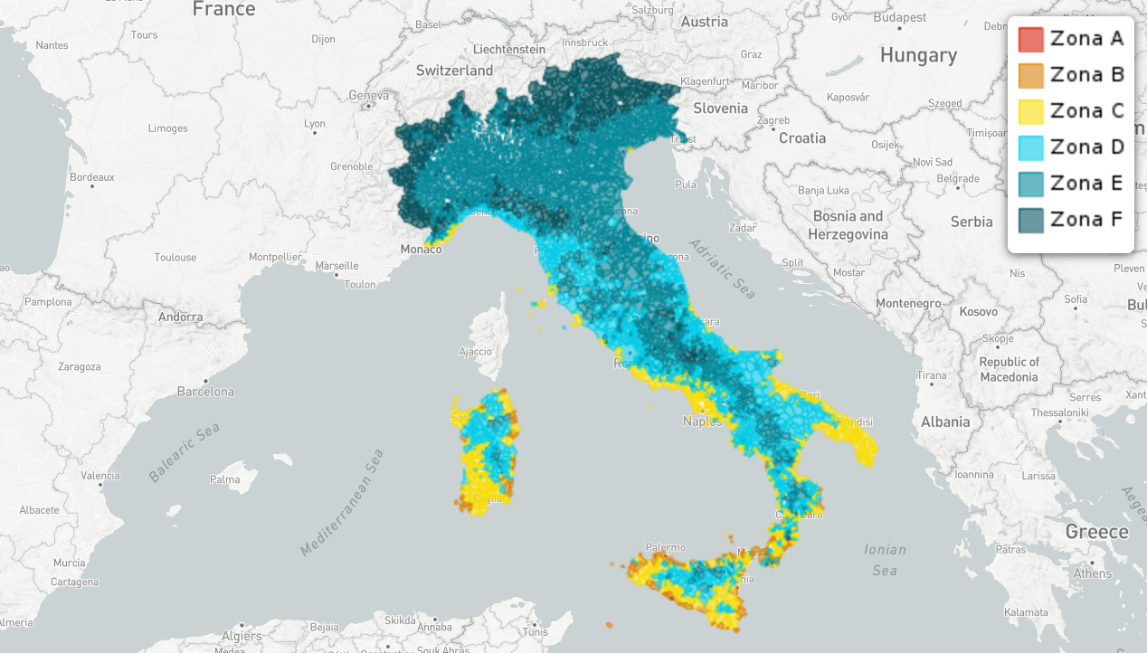 Cartina Dellitalia Con Zone Climatiche.Le Zone Climatiche Nei Comuni Italiani Geonue